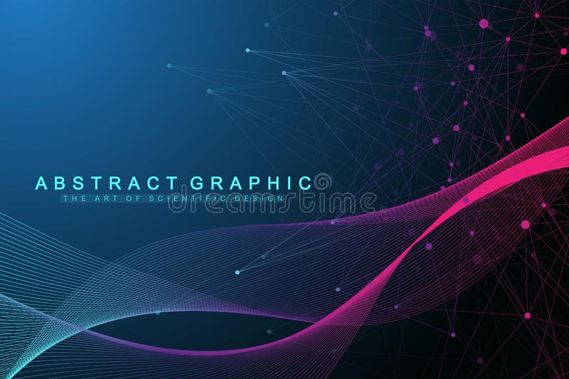 Geometric abstract background with connected lines and dots. Wave flow. Artificial Intelligence and Machine Learning. Concept. Communication graphic background stock illustration