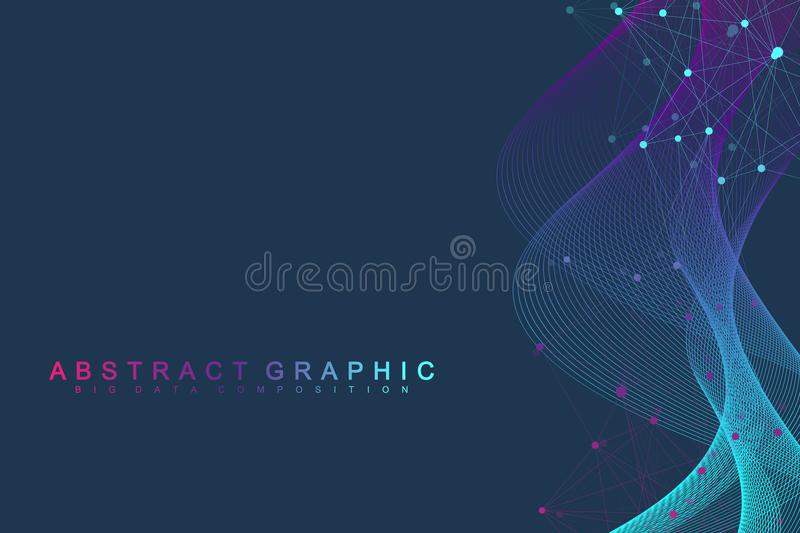 Geometric abstract background with connected lines and dots. Wave flow. Molecule and communication background. Graphic. Background for your design. Vector royalty free illustration