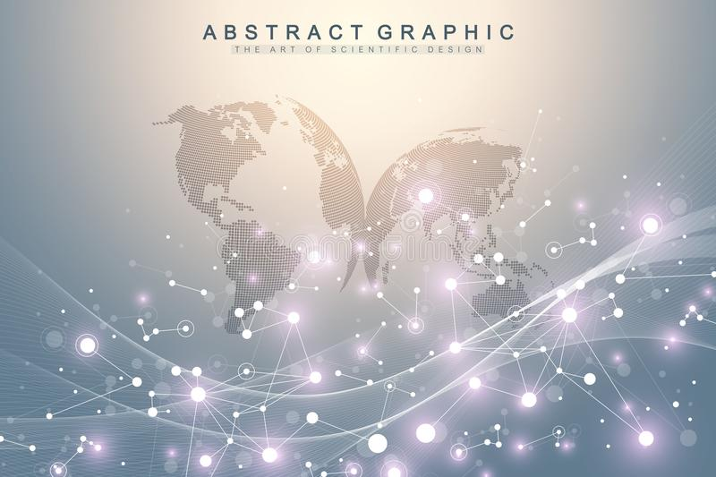 Geometric abstract background with connected lines and dots. Wave flow. Molecule and communication background. Graphic stock illustration