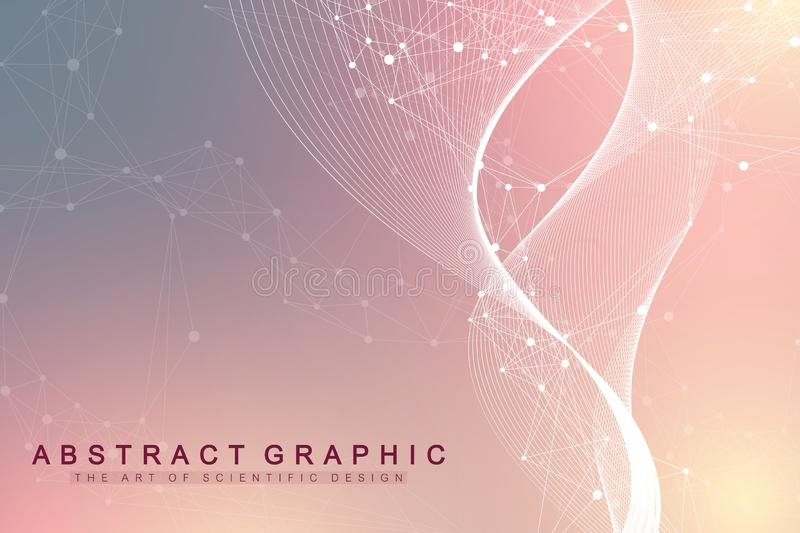 Geometric abstract background with connected lines and dots. Wave flow. Molecule and communication background. Graphic. Background for your design. Vector vector illustration