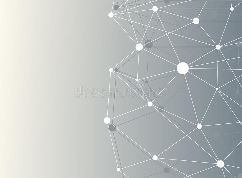 Geometric abstract background with dots array and lines. Big data complex with compounds. Connection structure. Molecule and communication. Vector stock illustration