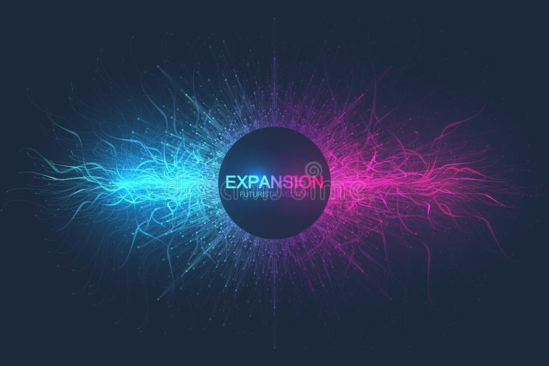Geometric abstract background expansion of life. Colorful explosion background with connected line and dots, wave flow. Graphic background explosion, motion stock illustration