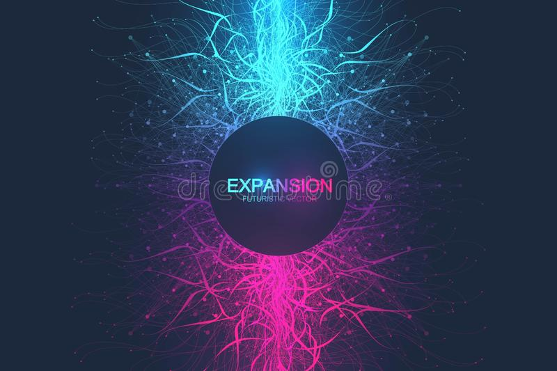 Geometric abstract background expansion of life. Colorful explosion background with connected line and dots, wave flow. Graphic background explosion, motion vector illustration