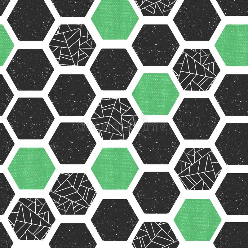 Geometric abstract background hexagons with grunge texture. Seamless vector pattern. Black green white modern abstract vector illustration