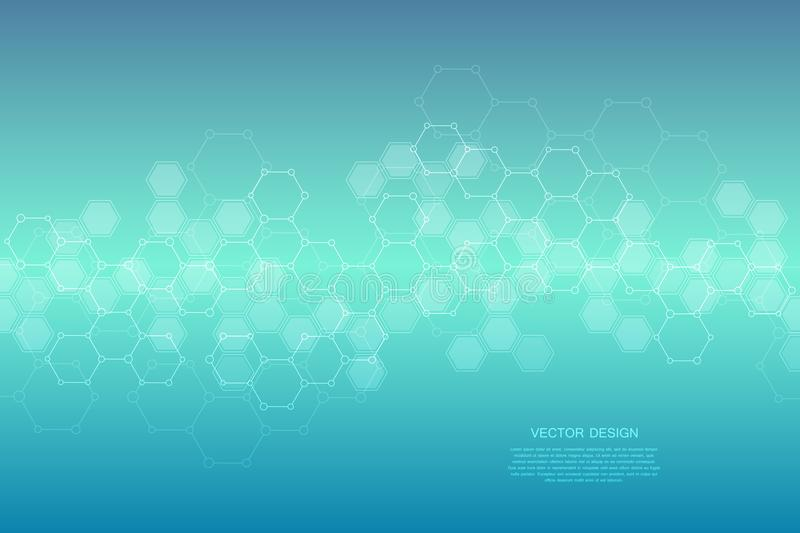 Geometric abstract background with hexagons. Structure molecule and communication. Science, technology and medical royalty free illustration