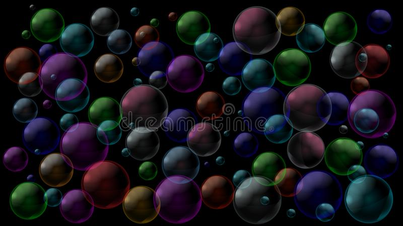Geometric abstract black background with colored air bubbles or water drops. Vector illustration. royalty free illustration