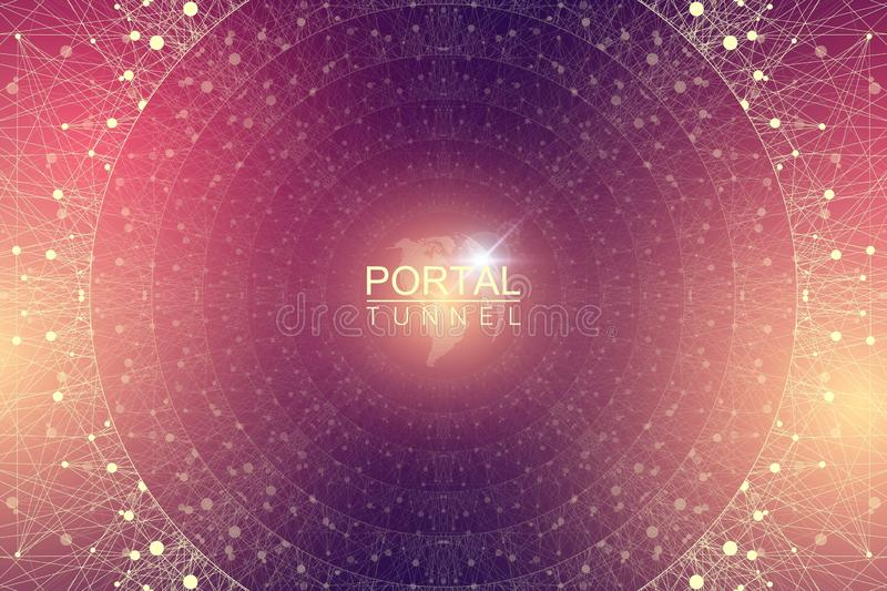 Geometric abstract background tunnel or wormhole with connected line and dots. Futuristic wormhole 3d space time portal royalty free illustration