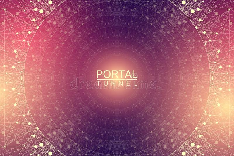 Geometric abstract background tunnel or wormhole with connected line and dots. Futuristic wormhole 3d space time portal vector illustration