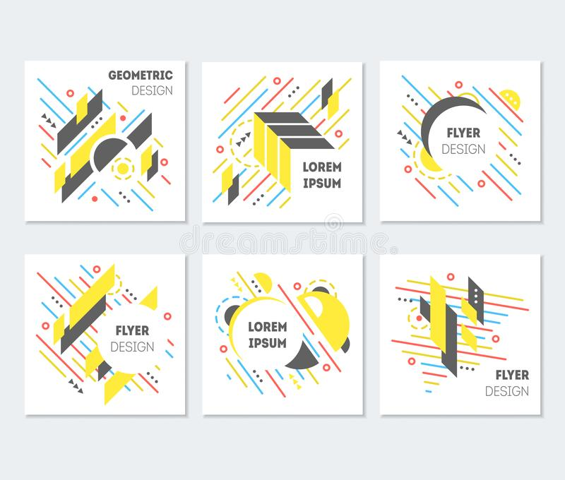 Geometric Abstract Colorful Flyers Poster Design Set. Vector royalty free illustration