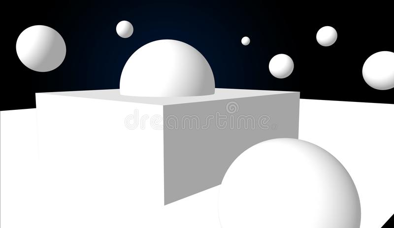 Form And Space In Art : Geometric abstract composition simple d shapes in space stock