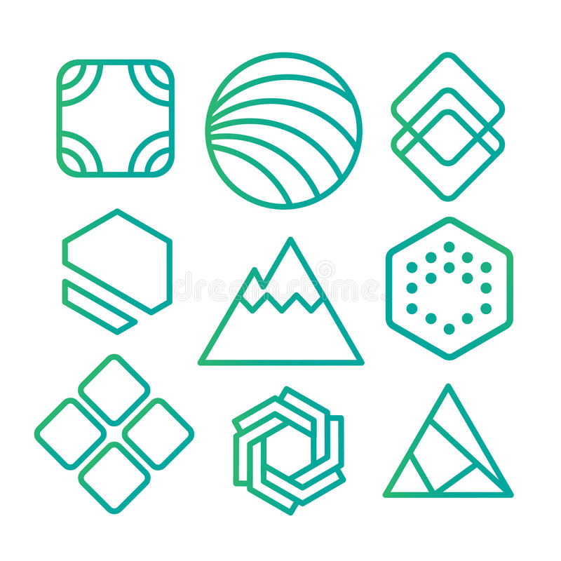 Geometric abstract contour shapes, with different combinations of lines inside the shape. royalty free illustration