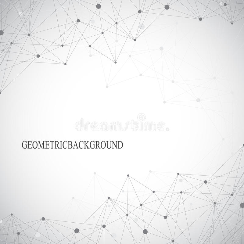 Geometric abstract grey background with connected lines and dots. Medicine, science, technology backdrop for your design stock illustration