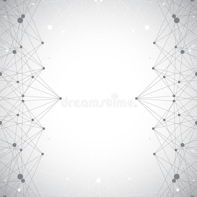 Geometric abstract grey illustration with connected lines and dots. Medicine, science, technology background for your royalty free illustration