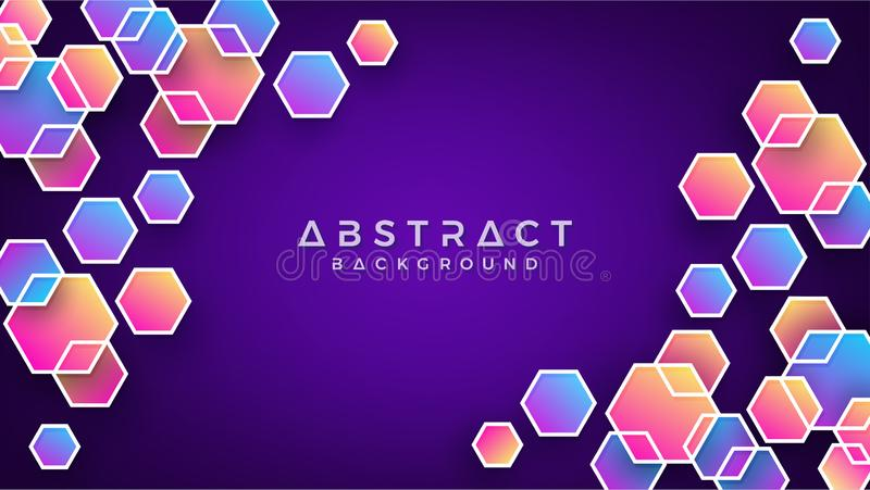 Geometric abstract hexagon background with blue, purple, pink and orange. Eps10 vector background stock illustration