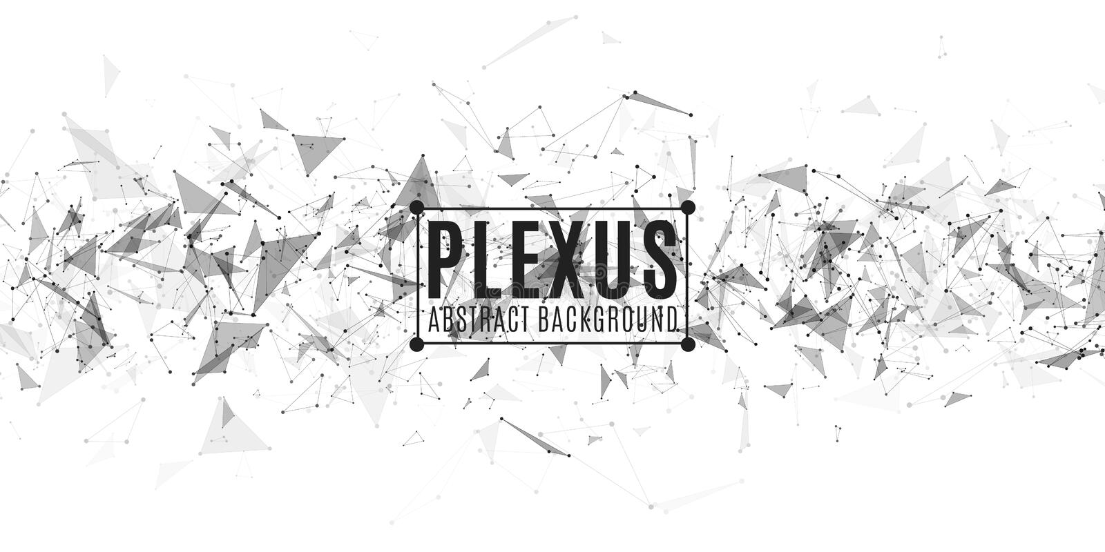 Geometric abstract horizontal background. Plexus cover. Modern design. Flying triangles isolated on white background. Connected vector illustration