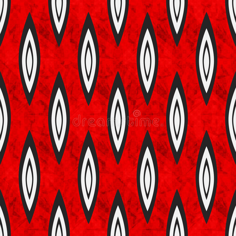 Geometric abstract objects on red background seamless pattern royalty free illustration