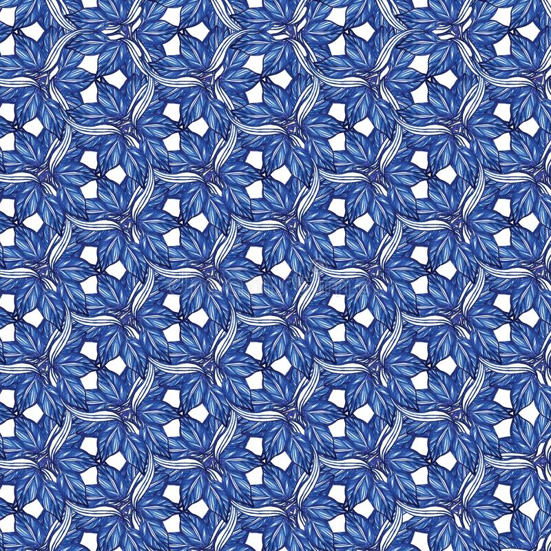 Geometric abstract pattern with blue watercolor leaves vector illustration