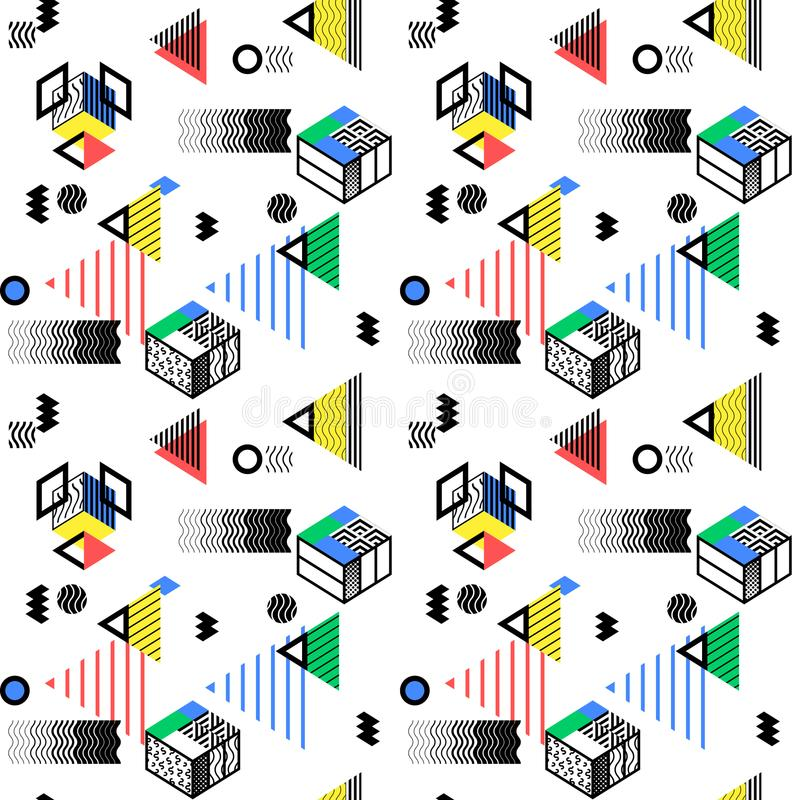 Geometric abstract seamless pattern background. Colorful decoration design. Trendy simple geometric shape bold color illustration royalty free illustration