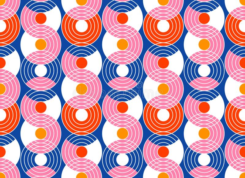 Geometric abstract seamless pattern background. Colorful shapes. Of curves and circles. Retro style modern trend design vector illustration