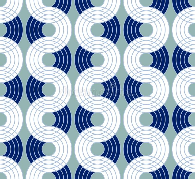 Geometric abstract seamless pattern background. Colorful shapes. Of curves and circles. Retro style modern trend design stock illustration