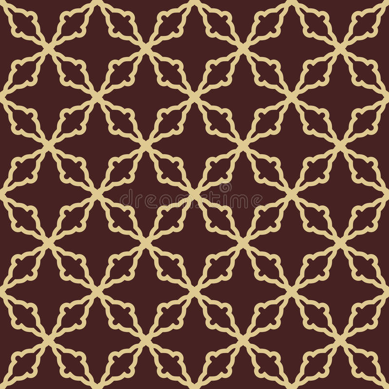 Geometric Abstract Seamless Pattern. Geometric fine abstract pattern. Seamless brown modern texture for wallpapers and background with golden grill vector illustration