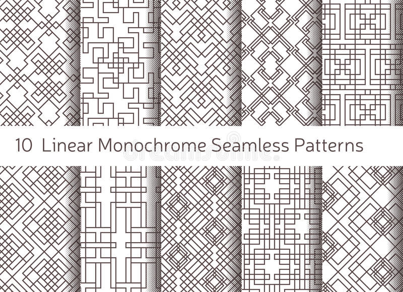 Geometric abstract seamless pattern. Linear motif background royalty free illustration