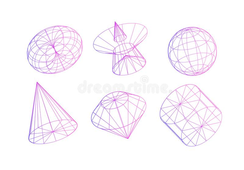 Geometric abstract shapes. Decorative elements for design projects. Contour flat figures in vector isolated on white background. Elements for the website and stock images