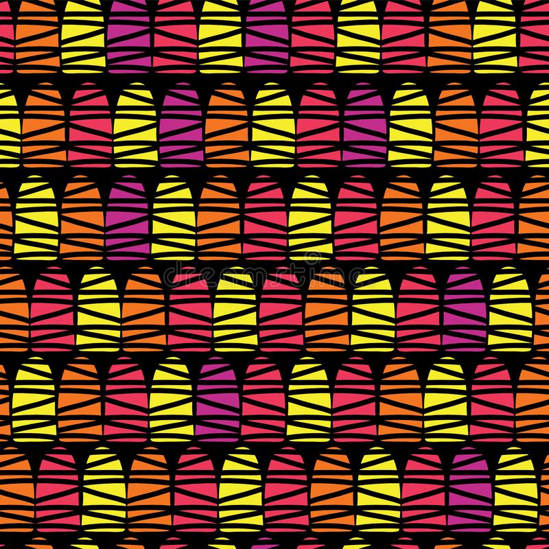 Geometric abstract shapes seamless vector pattern. Red, pink, orange, and yellow half dome doodle shapes on a black background. royalty free illustration