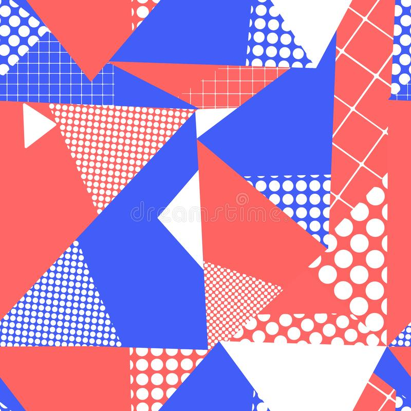 Geometric abstract triangle collage seamless vector background. Red, blue, and white contemporary repeating pattern. Use stock illustration
