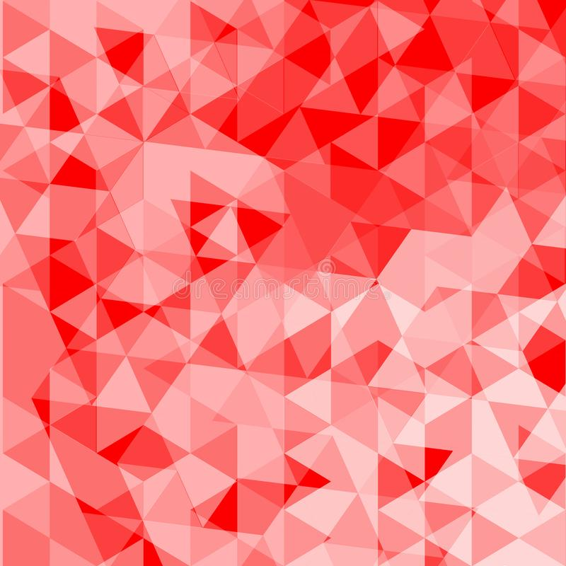 Geometric abstract triangle tile mosaic pattern background - polygon vector graphic from irregular triangles in red tones stock illustration
