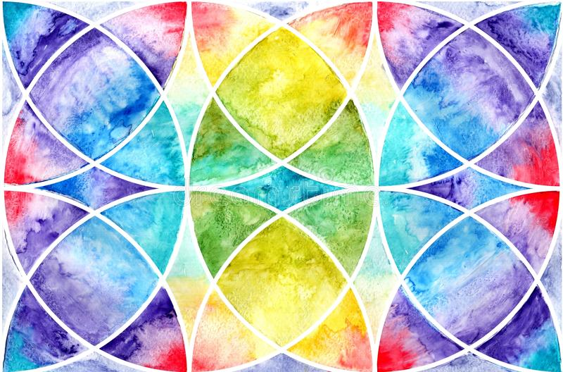Geometric abstraction watercolor. Sacred geometry stock illustration