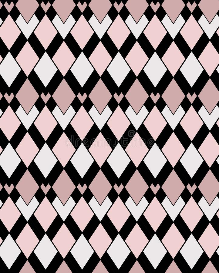 Geometric allover pink and black squares vector pattern stock illustration