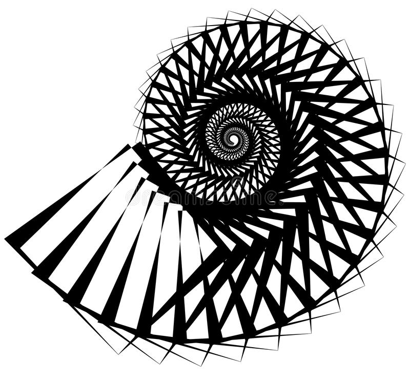 Geometric, angular snail, helix, volute element isolated on whit. E. Abstract monochrome non-figural illustration. - Royalty free vector illustration vector illustration