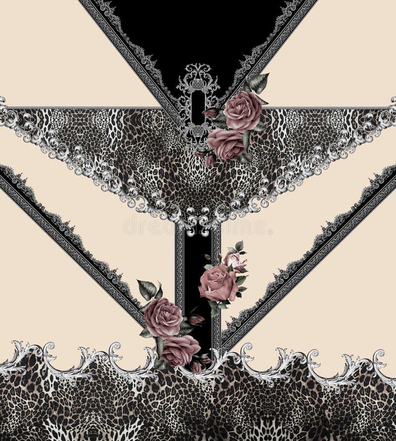 Geometric animal print flowers  black barroque royalty free illustration