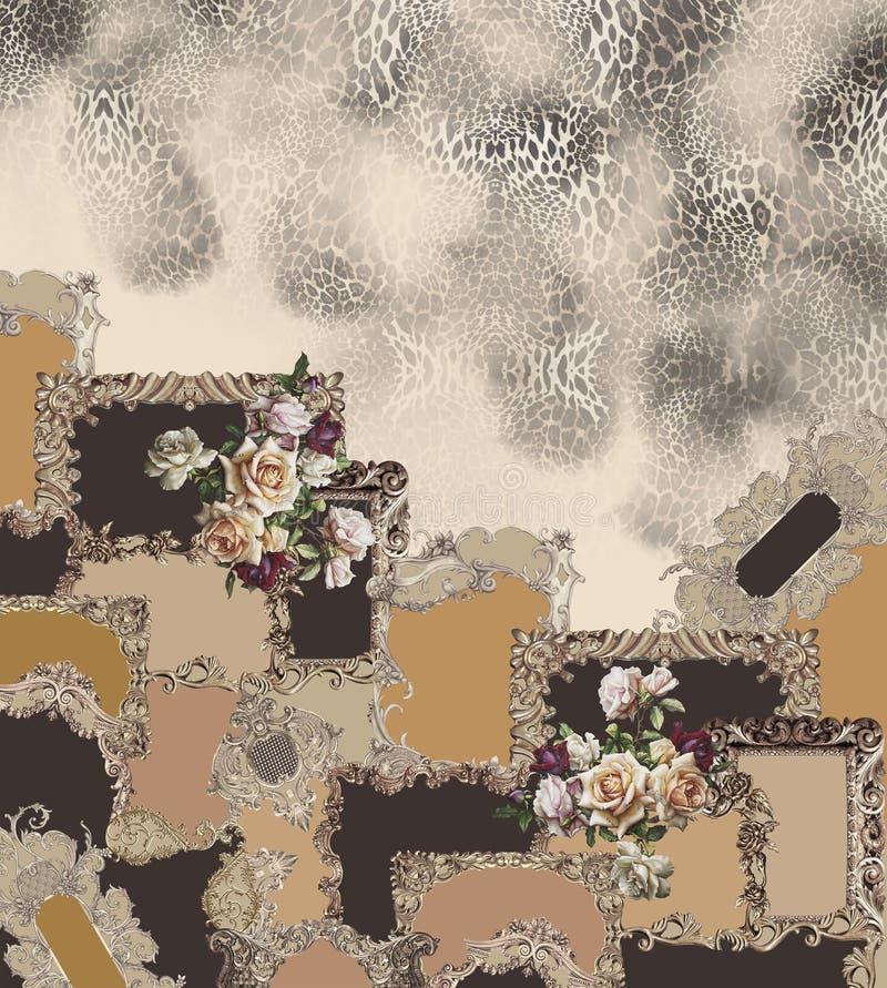 Geometric animal print flowers  black barroque stock illustration