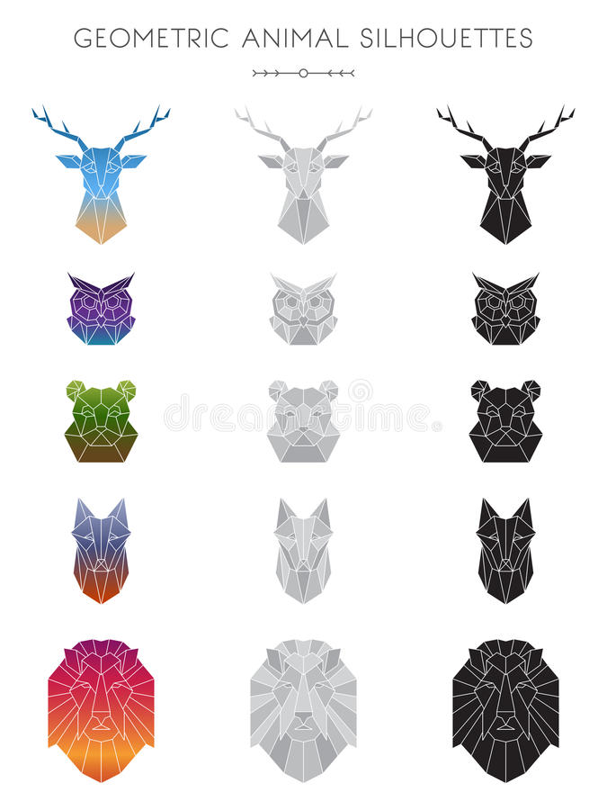 Geometric Animal Silhouettes. Silhouettes of 5 animal heads: deer, owl, bear, fox, and lion. Available in 3 color schemes: colored gradient (varies for each stock illustration