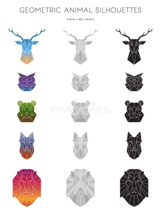 Geometric Animal Silhouettes stock illustration
