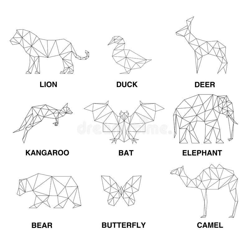 Geometric animals silhouettes. Set of polygons vector illustration