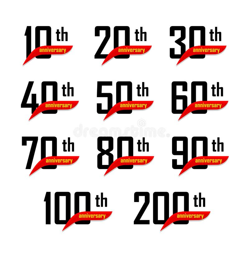 Geometric anniversary signs set, black numbers with yellow text on red ribbon or boomerang, birthday vector logos vector illustration