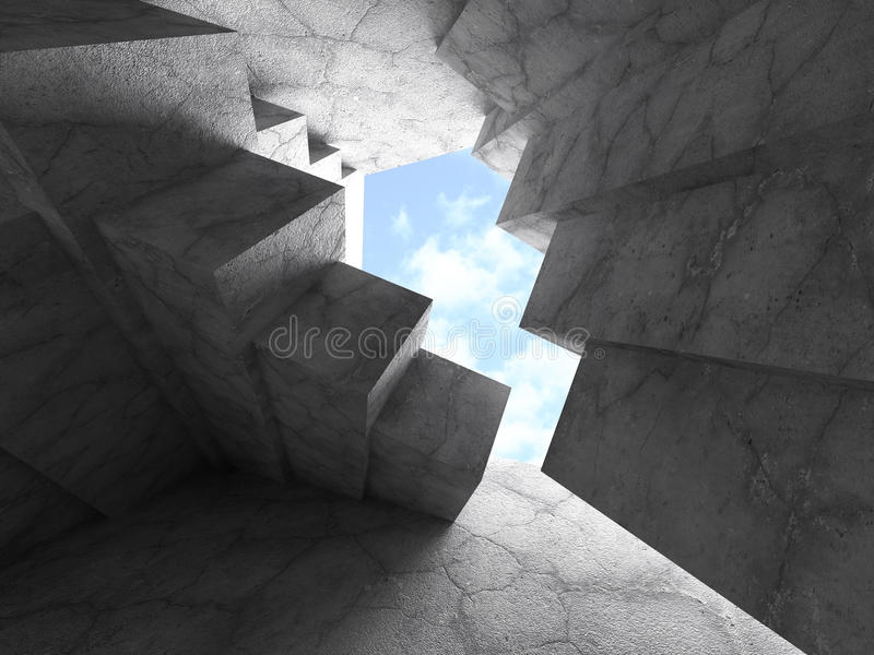 Geometric Architecture Background. Chaotic Concrete Walls Construction. 3d Render Illustration royalty free illustration