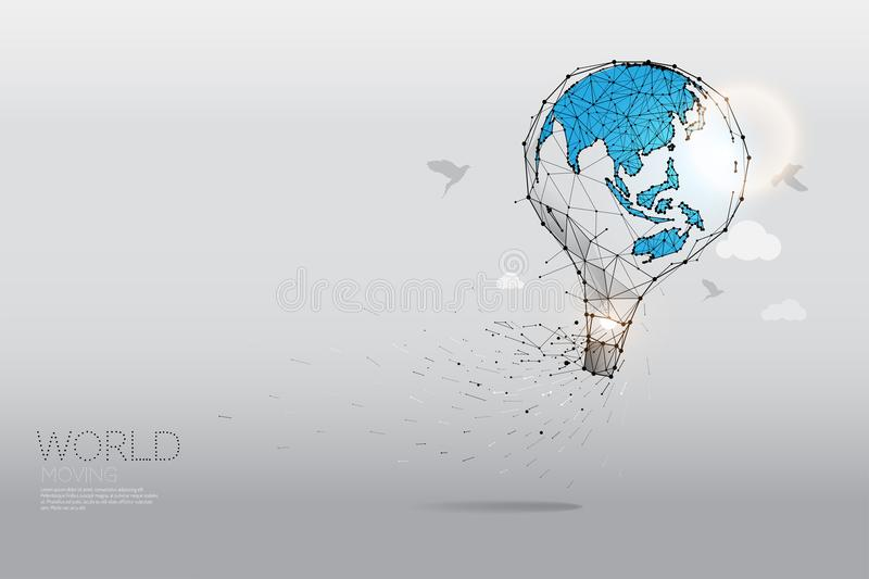 Geometric art - balloon concept. The particles, polygonal, geometric art - balloon concept. abstract vector illustration. concept of world moving - line stroke stock illustration