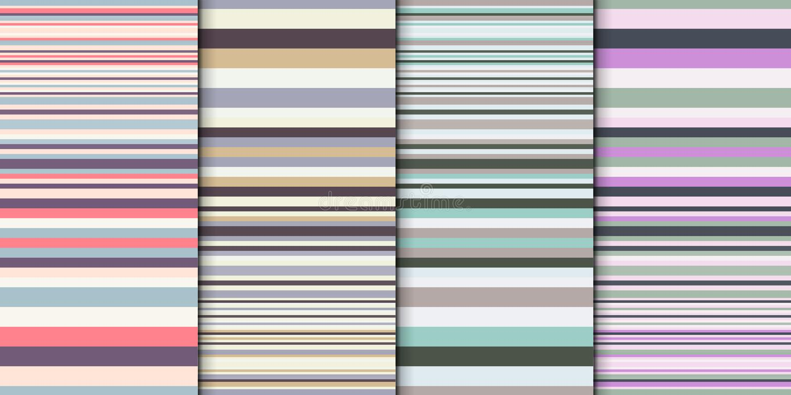 Geometric backdrop set. Abstract vector background with colorful stripes different width. Gradually changing stripes stock illustration