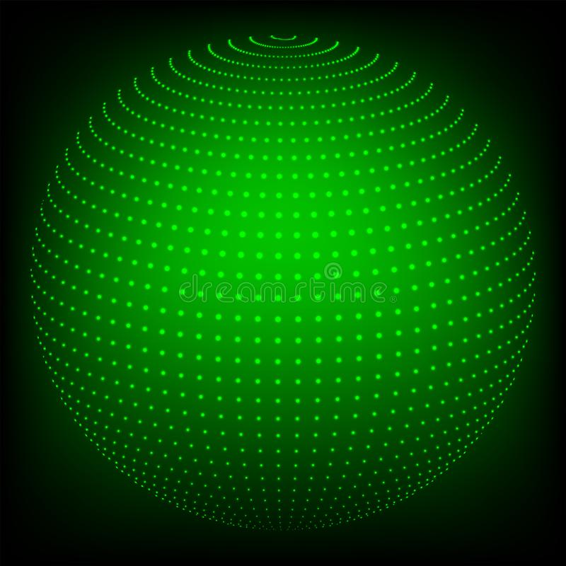 Geometric background in the form of a sphere drawn from dots of a green hue. royalty free illustration