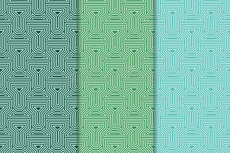 Geometric background. Green vertical seamless wallpaper. Colored set royalty free illustration