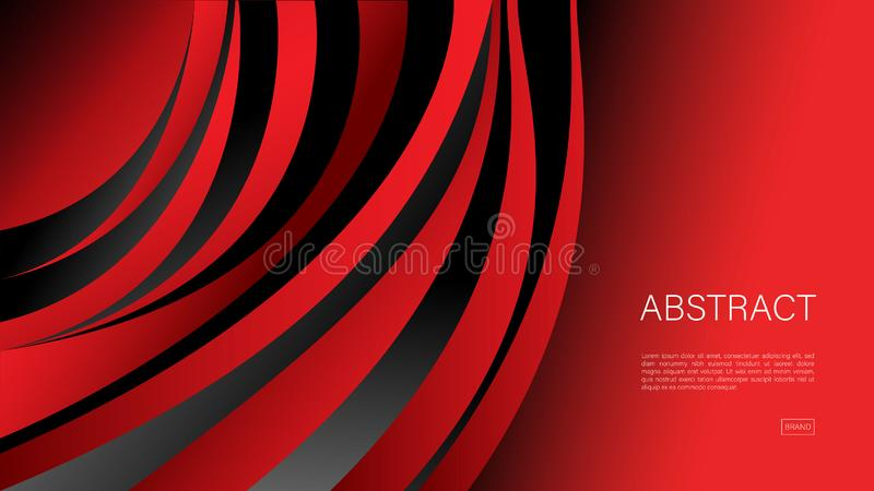 Red abstract background, wave, Geometric vector, graphic, Minimal Texture, cover design, flyer template, banner, web page. Book cover royalty free illustration