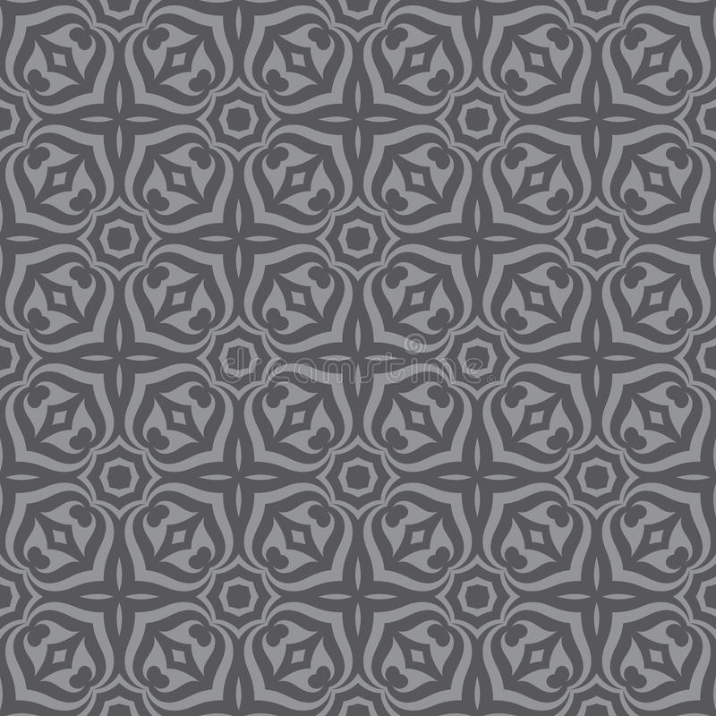 Geometric background - seamless vector pattern in gray colors. Decorative wallpaper pattern. stock illustration