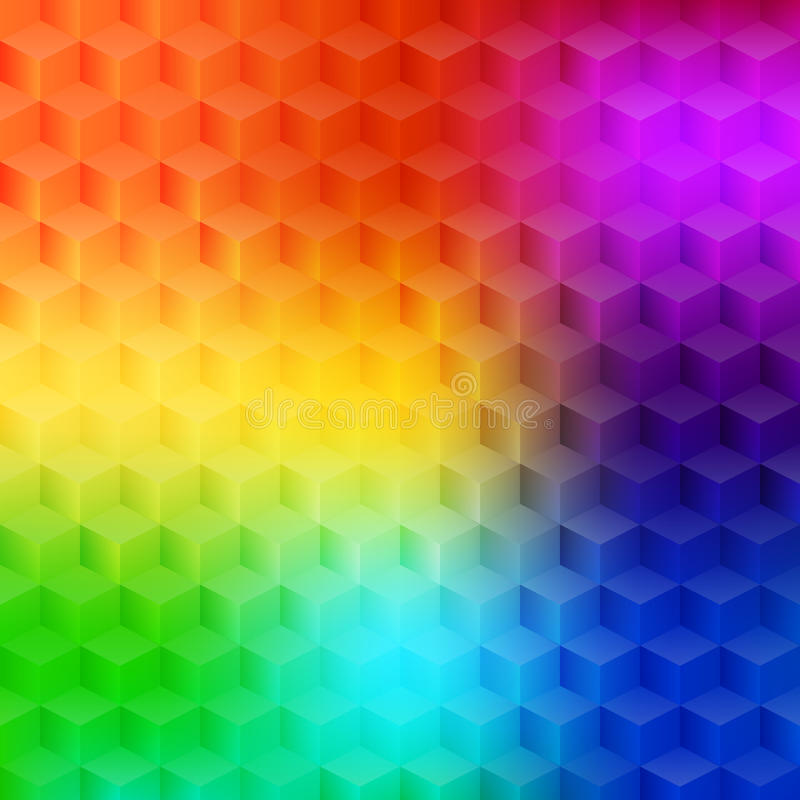 Geometric background. Vector illustration - abstract multicolored background with simple geometric shapes - a rhombus, hexagon, a cube with three-dimensional royalty free illustration