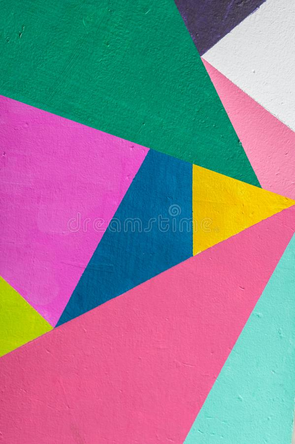 Geometric background of wall with bright tones. pop art style stock photos