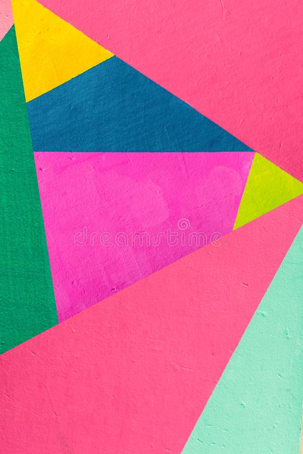 Geometric background of wall with bright tones. pop art style royalty free stock photo