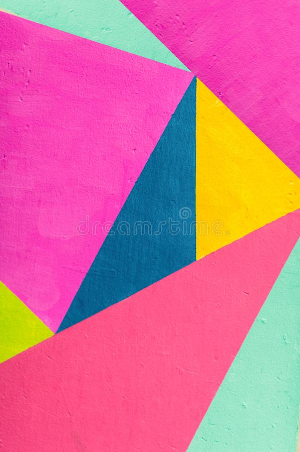 Geometric background of wall with bright tones. pop art style stock images